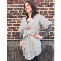 2127 Encore Chunky Tweed Moss Trimmed Cardigan