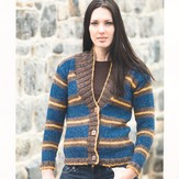 Plymouth Yarn 2174 Taria Tweed Woman's Striped Cardigan