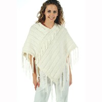 P469 Ladies Cabled Poncho