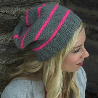 F522 Encore Worsted Neon Striped Hat (Free)
