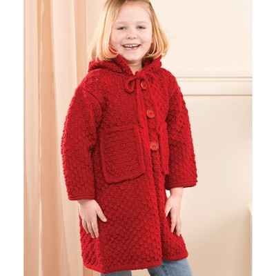Knitting Pattern Child s Hooded Jacket : Valley Yarns 206 Red Hooded Childs Jacket (Free) at WEBS ...
