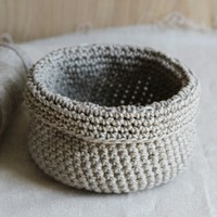 595 Crocheted Linen Basket (Free)